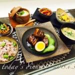 銅彩釉角皿大・コッツウォルズめし碗・ポン酢ボウルミニ×豚の角煮、三色米、きんぴら(Tさま)