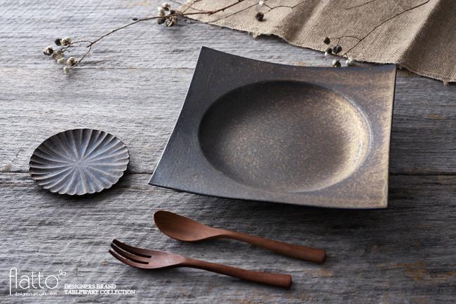 水野幸一「銅彩釉角皿(特大)」