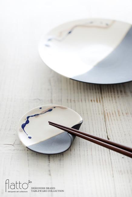 安田宏定「白釉四季彩 掛け分けはしおきプレート3寸」