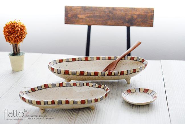 トキノハ「iroe粉引色絵楕円鉢(S・縞・赤銀)」
