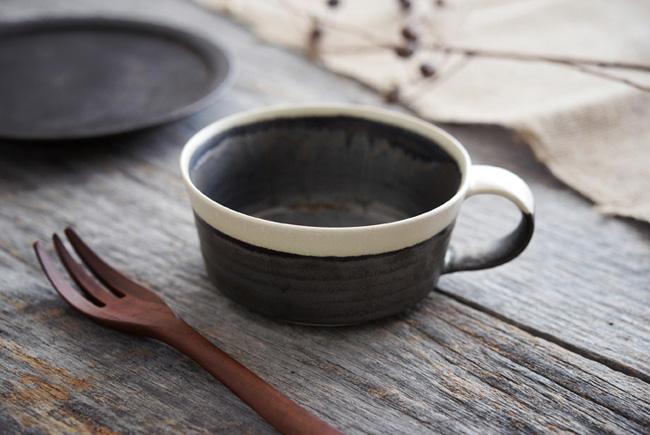 トキノハ shiro-kuroスープカップ(縁白)