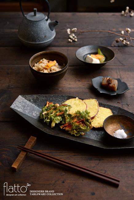 にんじん葉のかき揚げ和定食に使用した和食器