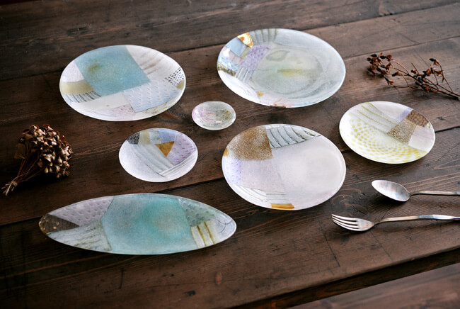 吉村桂子さんのツギハギ丸皿